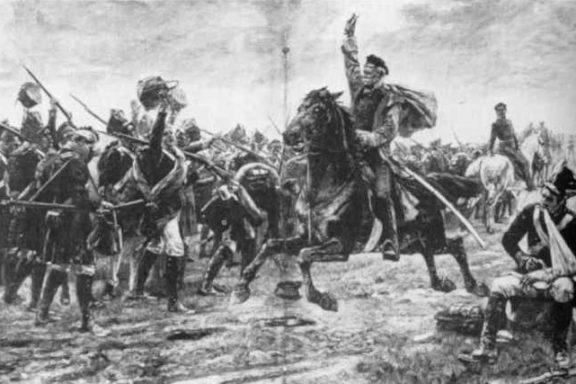 Generallfeldmarschall Blücher in der Schlacht von Belle Alliance (Waterloo)