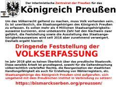 Aufruf zu Volkserfassung des Zentralrats der Preußen